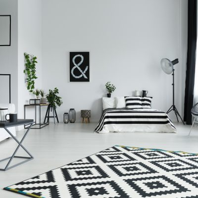Modern, black and white studio with bed